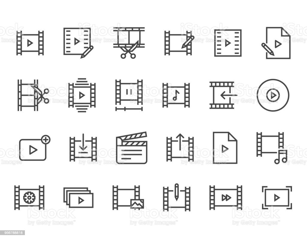 Set Of Video Editing Related Vector Line Icons Contains Such Icons ...