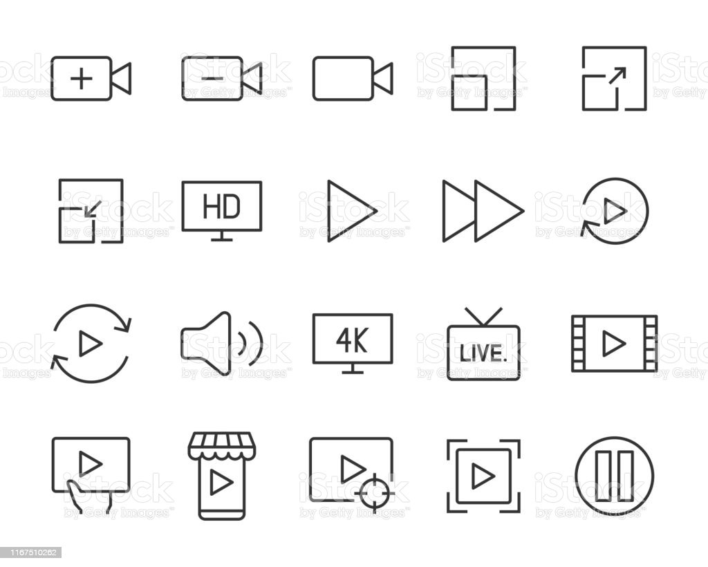 set of video icons, play, livestream, watch