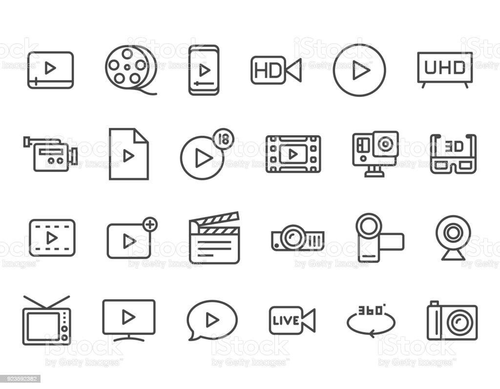 Satz von Video im Zusammenhang mit Vektor-Linie-Icons. Enthält Ikonen wie Video Tape, Präsentation, Streaming. Editierbare Schlaganfall. 48 x 48 Pixel Perfect – Vektorgrafik