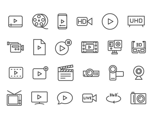 satz von video im zusammenhang mit vektor-linie-icons. enthält ikonen wie video tape, präsentation, streaming. editierbare schlaganfall. 48 x 48 pixel perfect - rundfunk stock-grafiken, -clipart, -cartoons und -symbole