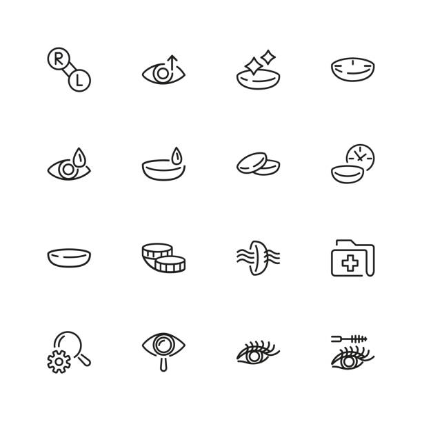 ilustraciones, imágenes clip art, dibujos animados e iconos de stock de conjunto de iconos de línea de vista - lentes contacto