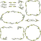 set of vignettes with abstract branches drawing by watercolor, hand drawn vector elements