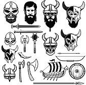Set of vikings icons. Vikings weapon, ship, helmets. Design elements for label, emblem, sign. Vector illustration