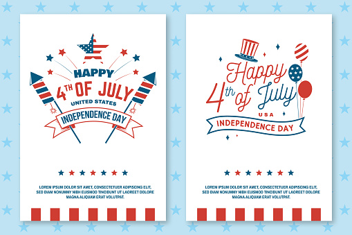 Set of Vintage 4th of july poster, flyer, template, card. Fourth of July felicitation classic postcard. Independence day greeting card. Patriotic banner for website template. Vector illustration.