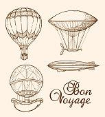 Set of vintage vector hand drawn air balloons