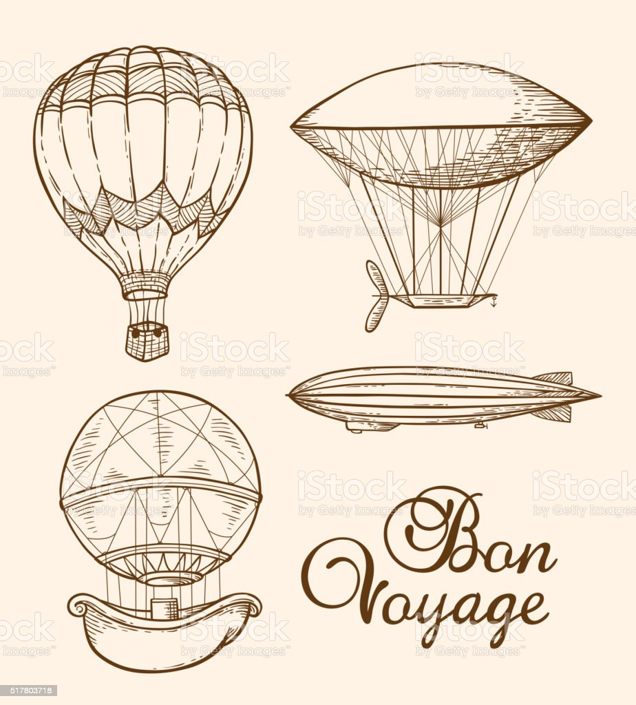 Set of vintage air balloons vector art illustration