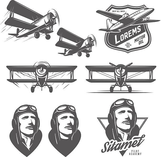 세트마다 빈티지 항공기 디자인 요소가 있습니다. biplanes, 조종사, 디자인식 엠블럼 - 복엽기 stock illustrations