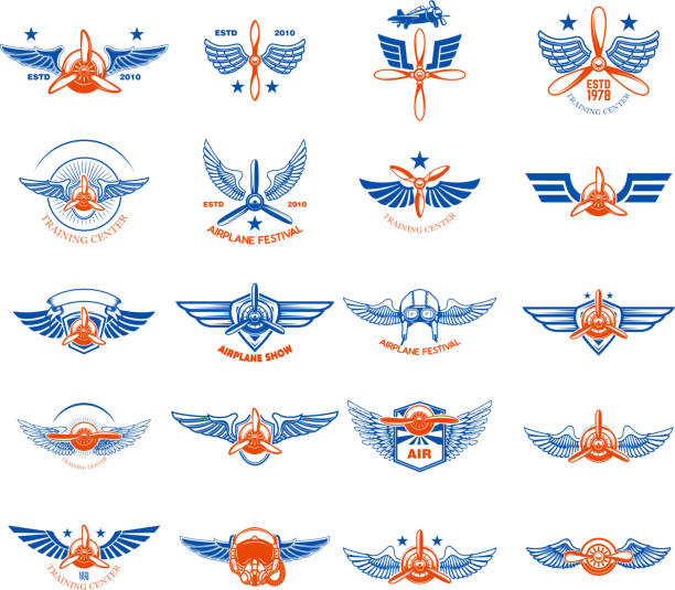 Set of vintage airplane emblems. Design elements for label, sign, menu. Set of vintage airplane emblems. Design elements for label, sign, menu. Vector illustration aircraft wing stock illustrations