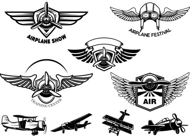 Set of vintage airplane show emblems. Design elements for label, sign, menu. Set of vintage airplane show emblems. Design elements for label, sign, menu. Vector illustration aircraft wing stock illustrations