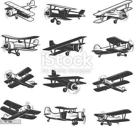 istock set of vintage airplanes icons. Aircraft illustrations. Design element for  label, emblem, sign. Vector illustration. 678224492