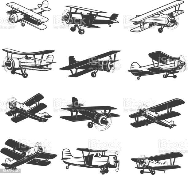 Set of vintage airplanes icons aircraft illustrations design element vector id678224492?b=1&k=6&m=678224492&s=612x612&h=ftgeavcvh8 gktvs05dh4sswovoykkjdbpaslomavnk=