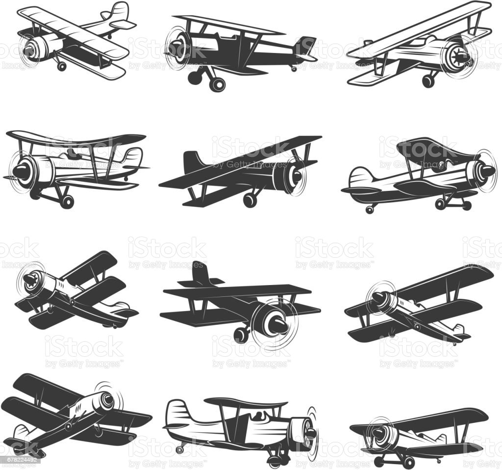 set of vintage airplanes icons. Aircraft illustrations. Design element for  label, emblem, sign. Vector illustration. - illustrazione arte vettoriale
