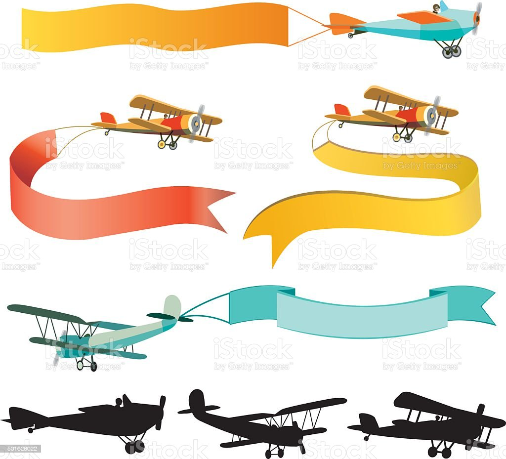 Set Of Vintage Airplanes With Banners Royalty Free Stock