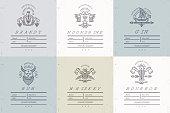 Set of vintage alcohol label design