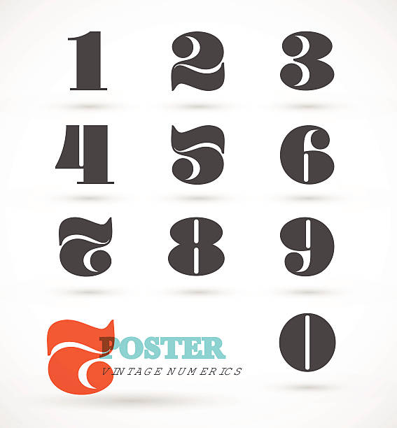 Set of vintage and retro numeric font numbers vector art illustration