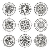 Set of vintage antique wind rose nautical compass signs labels emblems elements
