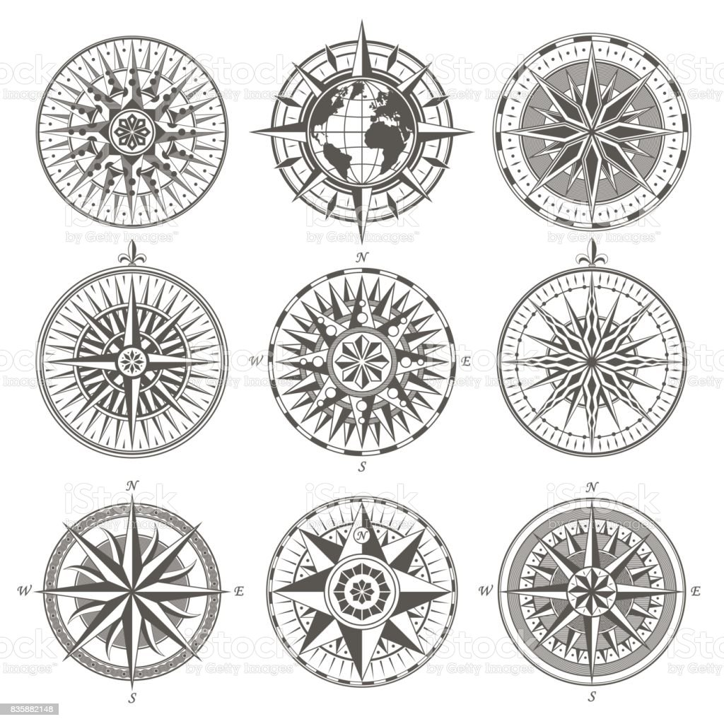 Set of vintage antique wind rose nautical compass signs labels emblems elements vector art illustration