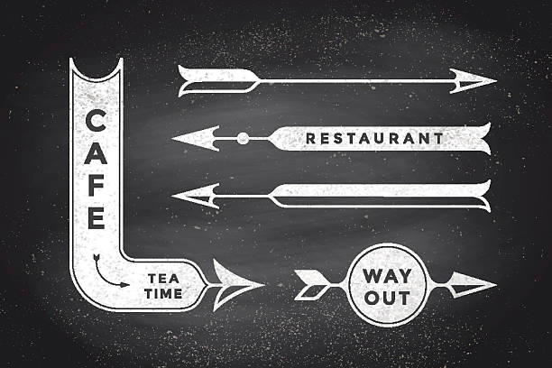 Set of vintage arrows and banners Set of vintage arrows and banners with text Cafe, Way Out, Restaurant. Design elements of set arrow for navigation. Retro style arrow on black chalkboard background. Vector Illustration bathroom borders stock illustrations