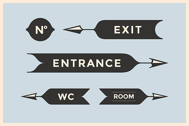 Set of vintage arrows and banners with inscription Entrance, Exit Set of vintage arrows and banners with inscription Entrance, Exit, Room and WC. Design elements in retro style for navigation sign on color background. Vector Illustration bathroom borders stock illustrations