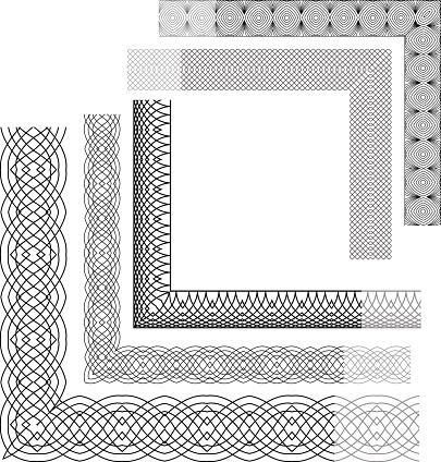 Conjunto De Fundo Vintage Cantos Emblema De Guilhoché - Arte vetorial de stock e mais imagens de 2015