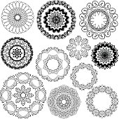 Set of Vintage backgrounds, Guilloche ornamental circle