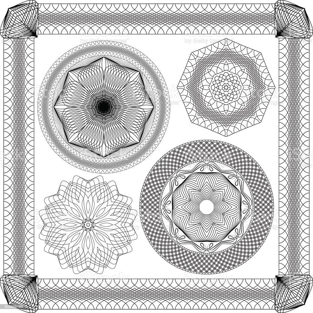 Conjunto de Vintage fundos, elementos ornamentais decorativos Guilhoché, round frames. - Royalty-free Artigo de Decoração arte vetorial
