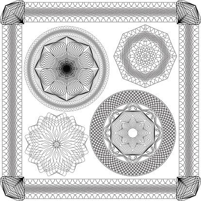 Conjunto De Vintage Fundos Elementos Ornamentais Decorativos Guilhoché Round Frames - Arte vetorial de stock e mais imagens de Artigo de Decoração