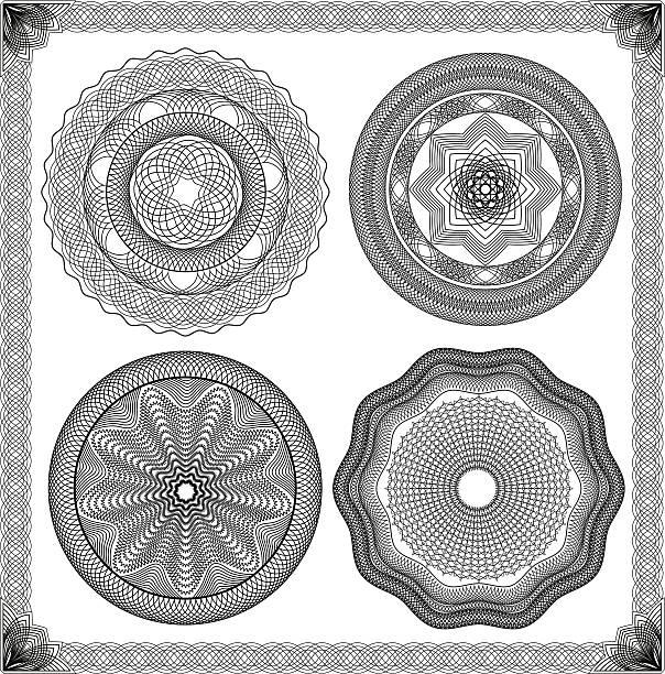 ilustrações de stock, clip art, desenhos animados e ícones de conjunto de guilhoché ornamentais vintage fundo, elemento para o certificado, diploma - lian empty