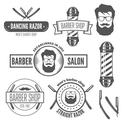 Set of vintage badge, emblem or logotype elements for barber