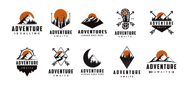 Set of vintage badge seal mountain adventure outdoor vector design on white background