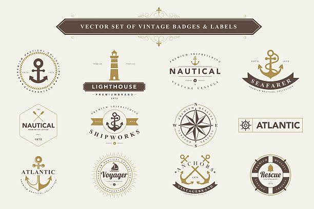 set of vintage badges and labels. - boat stock illustrations