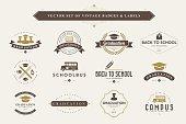 Set of vintage education badges and labels
