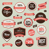 Set of vector badges and ribbons for sale
