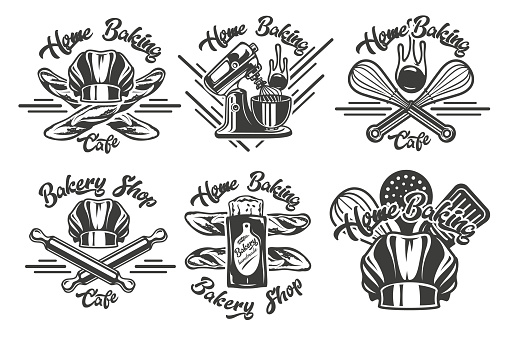 Set of vintage badges on the craft bakery theme