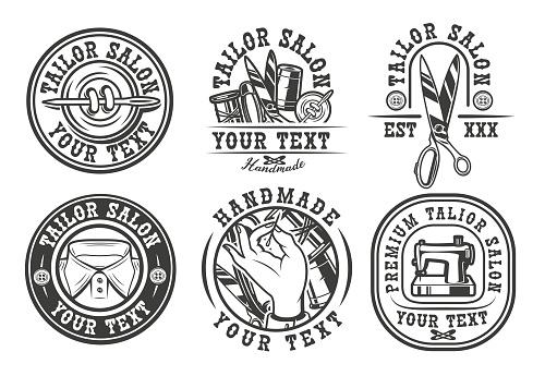 Set of vintage badges on the tailor salon theme.