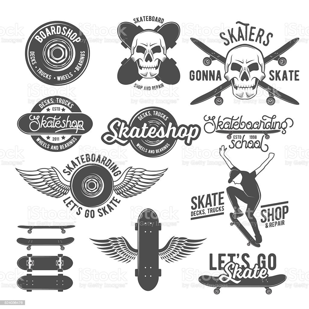 Set of vintage  badges with skateboard vector art illustration