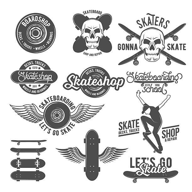 ilustrações, clipart, desenhos animados e ícones de conjunto de emblemas vintage com skate - andar de skate
