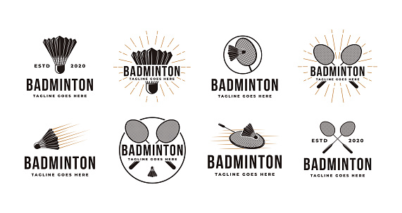 Set of Vintage badminton logo with shuttlecock and racket icon vector
