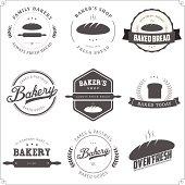 Set of vintage bakery labels and design elements.