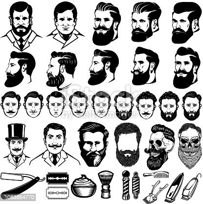 Set of vintage barber monochrome icons, men hairstyles and design elements isolated on white background. For label, emblem, sign. Vector illustration