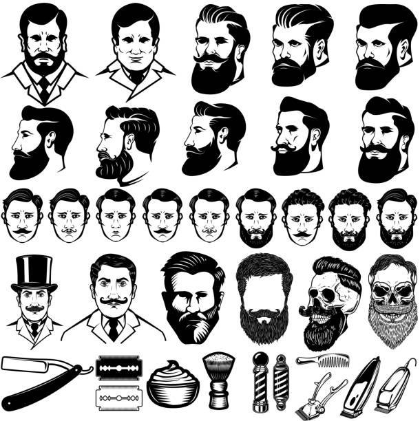 ilustraciones, imágenes clip art, dibujos animados e iconos de stock de conjunto de iconos monocromo barber vintage, peinados hombres y elementos de diseño aislados sobre fondo blanco. para sello, emblema, signo. - peinado