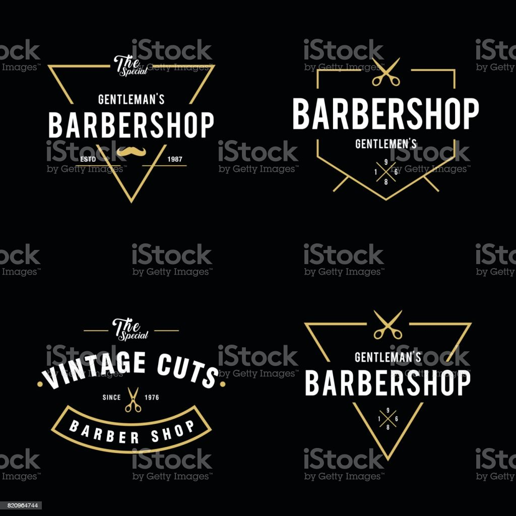 Set of vintage barber shop badges and labels design elements vector art illustration