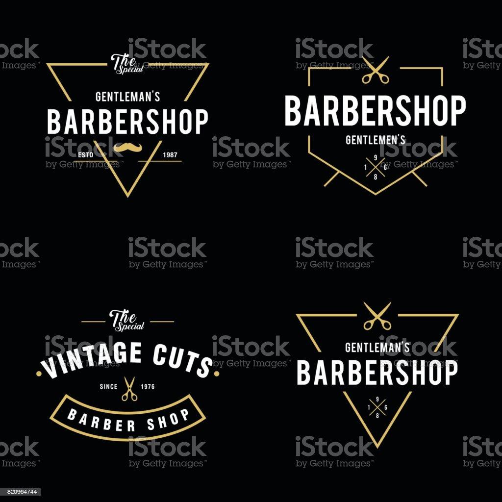 Conjunto de barbearia vintage emblemas e etiquetas de elementos de design - ilustração de arte em vetor