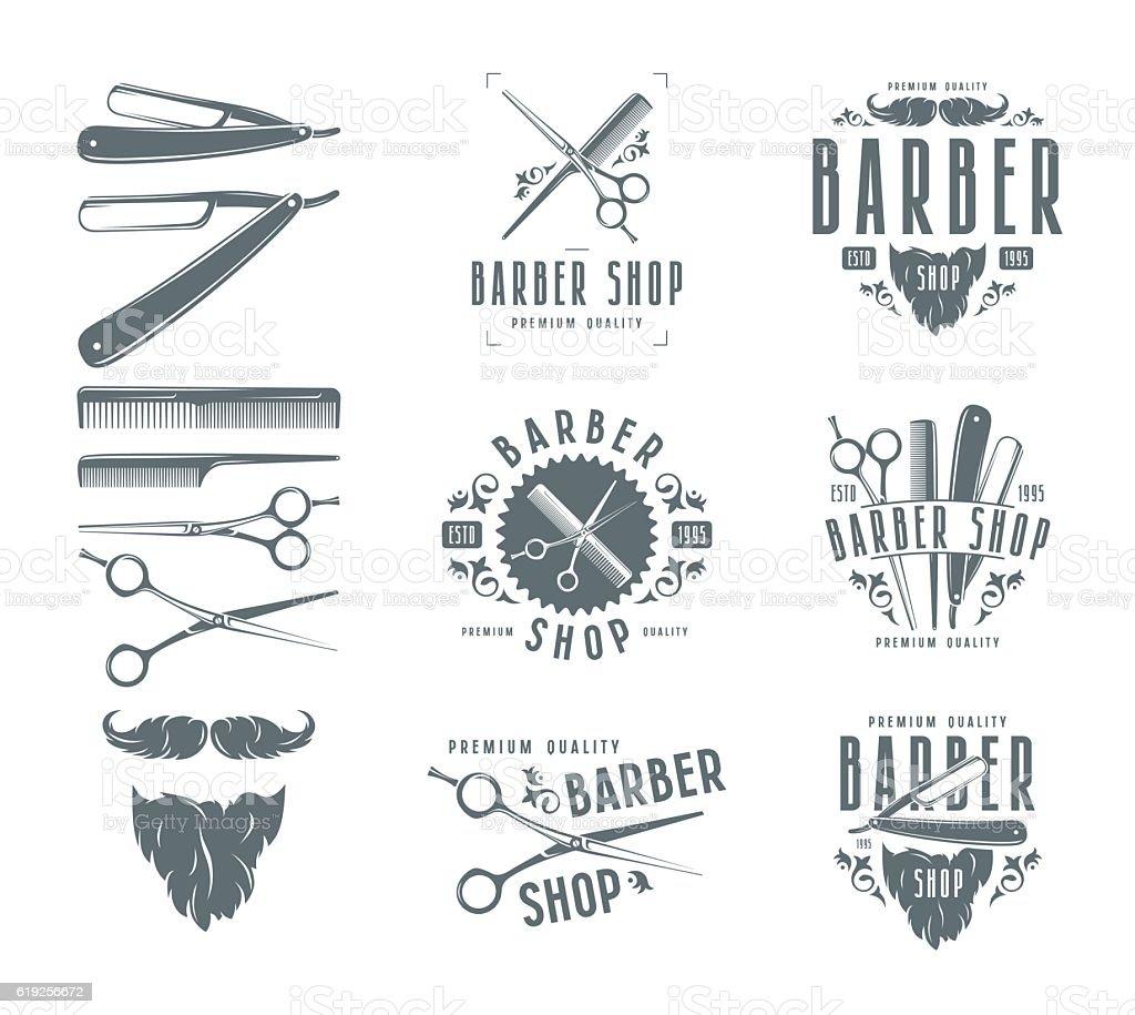 Set of vintage barber shop badges vector art illustration