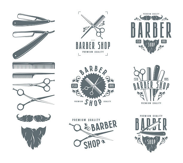 Set of vintage barber shop badges vector art illustration