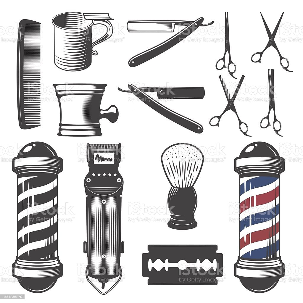 Set of vintage barber shop elements. vector art illustration