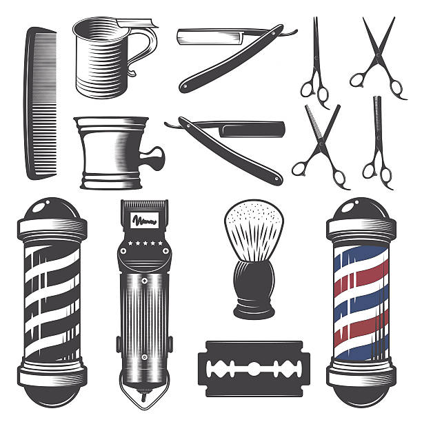 Set of vintage barber shop elements. vector art illustration