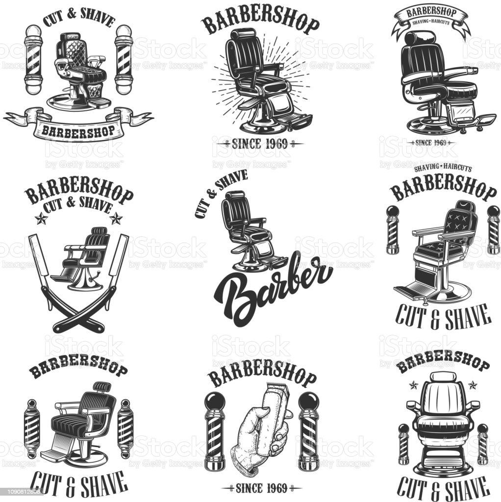 Satz Von Vintage Barber Shop Embleme Mit Friseur Stuhl