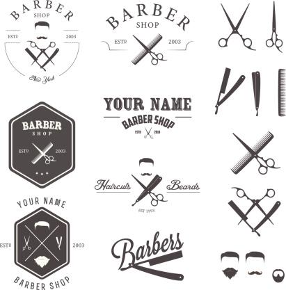 Set of vintage barber shop labels, badges and design elements