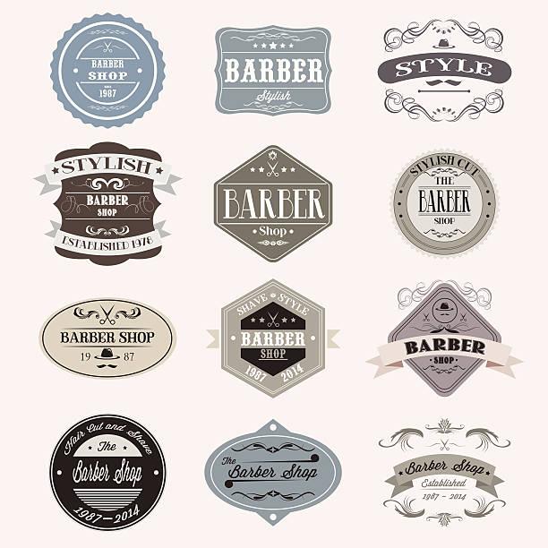 Satz von vintage-barber shop logo-Grafiken und Symbole. – Vektorgrafik